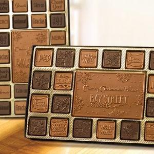 2 assortments of logos imprinted on chocolates