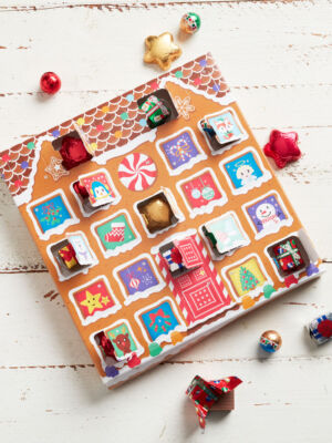 holiday themed chocolate advent calendar box