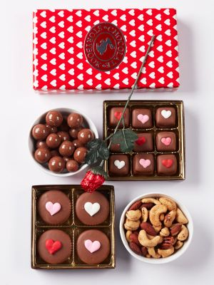 Gourmet Valentine's Day chocolates, caramels and mixed nuts