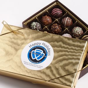 gold wrapped truffles assortment with logo sticker