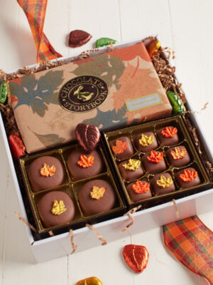 Falling Leaves chocolate box filled with chocolates decorated in leaves
