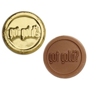 2 chocolate coins in gold foil.