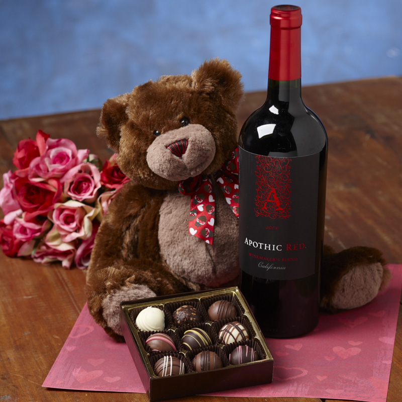 teddy bear, truffles & red wine 1 | custom, handmade chocolates, Ideas