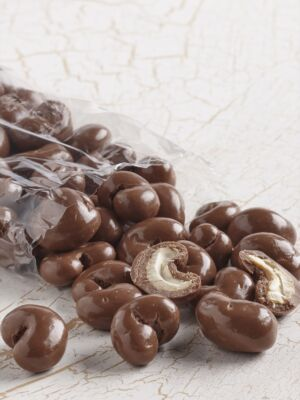 clear bag of milk chocolate covered cashews