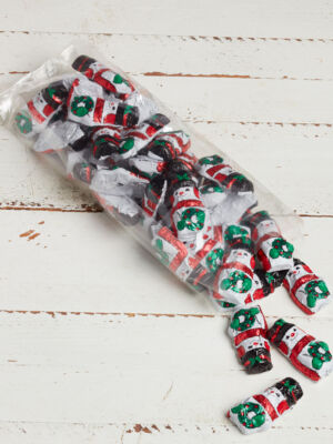 Clear 1 lb. bag of foil wrapped chocolate snowmen