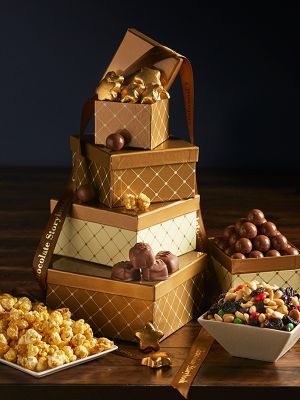Sweets and Snacks Gift Tower Holiday chocolate caramels malted milk balls