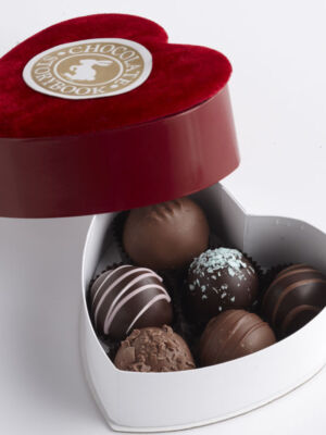 Chocolate Dessert Truffles, 6 pc Velvet Heart Shaped Box