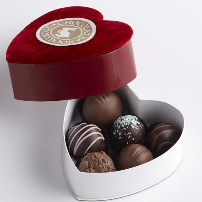 Chocolate Dessert Truffles, 6 pc Velvet Heart Shaped Box