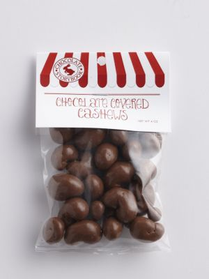 Small bag of milk chocolate covered cashews